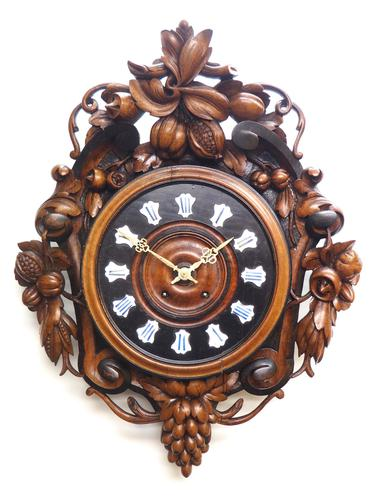 Rare Antique French Carved Dial Wall Clock 8 Day Movement Dial Black Forest Design (1 of 10)