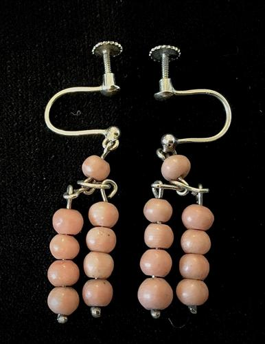 Pair of  9ct  Gold and Coral Earrings (1 of 3)