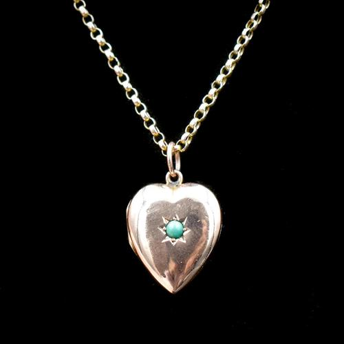Antique Turquoise Heart 9ct 9K Gold Locket and Chain Necklace (1 of 10)