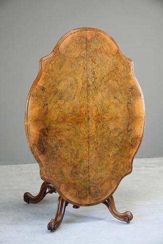 Antique Victorian Figured Walnut Tilt Top Table (1 of 12)