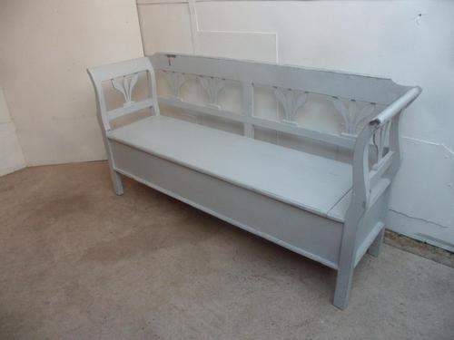Light Grey 3 Seater Tulip Antique Pine Kitchen / Hall Box Settle / Bench (1 of 10)