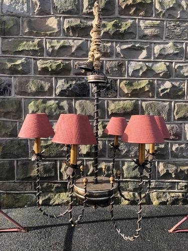 Ornate English Gothic Iron & Gilt Chandelier (1 of 7)
