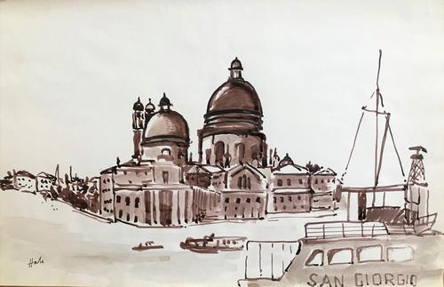 Original sepia watercolour 'Santa Maria della Salute, Venice' by Helen Hale ROI, NS, SWA. B.1936. Signed c.1965 (1 of 1)