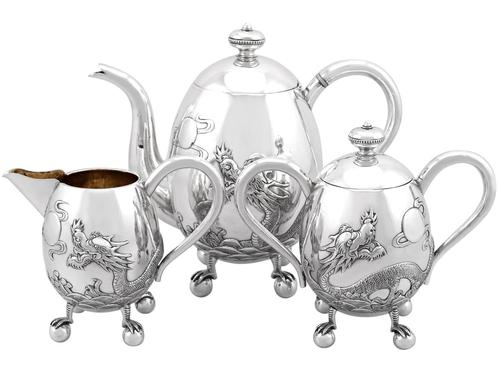 Chinese Export Silver Three Piece Tea Service - Antique c.1920 (1 of 15)
