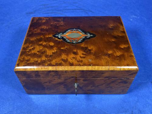 Victorian  French Burr Cedar Jewellery Box with Original Interior (1 of 9)