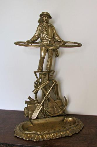 Unusual Nautical Brass Stick or Umbrella Stand  in shape of Sailor (1 of 6)