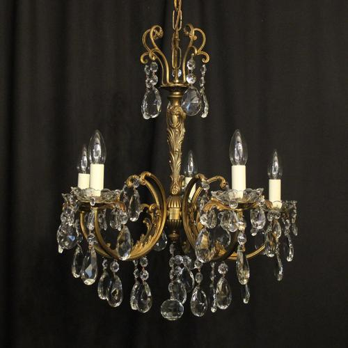 Italian Gilded Brass 5 Light Antique Chandelier (1 of 10)
