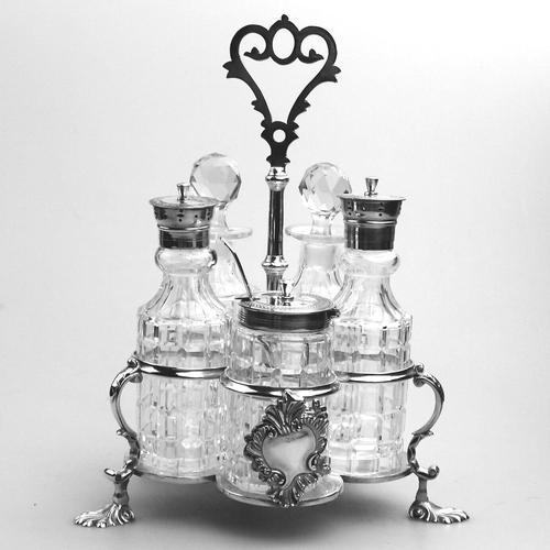 A Fine Silver Plate Warwick Type Cut Glass 5 Bottle Cruet C.1863/64 (1 of 9)