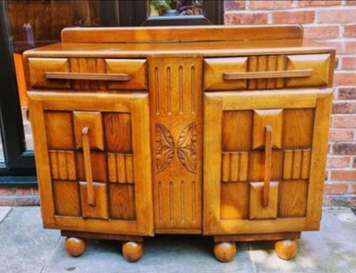 Art Deco Oak Wood Sideboard with Ball Feet (1 of 9)