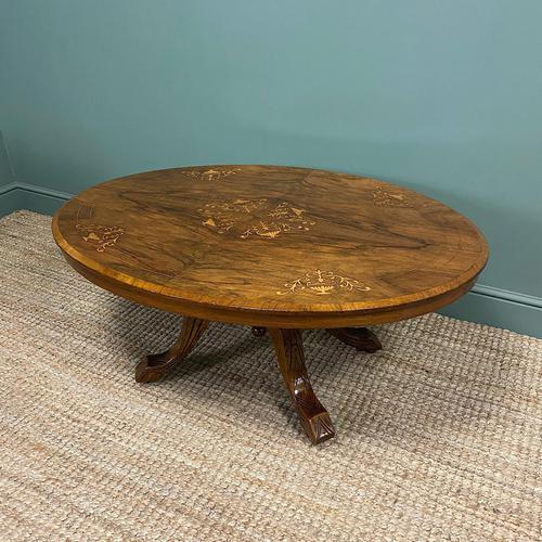 Spectacular Inlaid Walnut Antique Coffee Table (1 of 7)