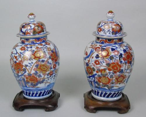 Good Pair of 19th Century Imari Porcelain Lidded Vases on Stands (1 of 10)