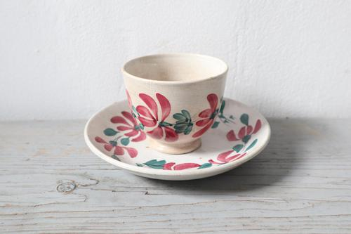 19th Century Floral Decorated Spongeware Pottery Bowl & Dished Saucer (1 of 24)