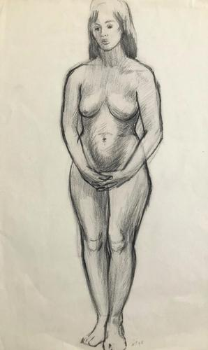 Original Pencil Drawing 'standing Nude' by Helmut Petzsch 1920-2008 - Initialled 1948 (1 of 1)