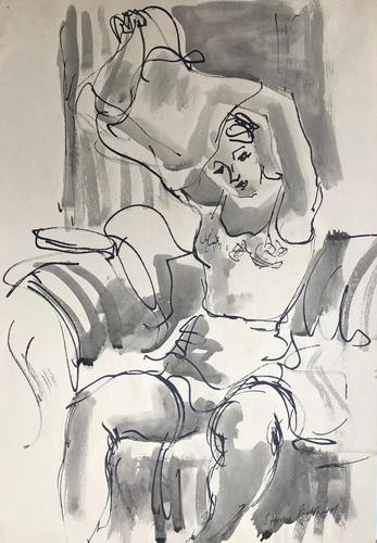 Original Watercolour 'Undressing' by Toby Horne Shepherd 1909-1993. c.1955. Signed (1 of 1)