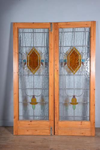 Antique pair of Edwardian leaded glass doors (1 of 3)