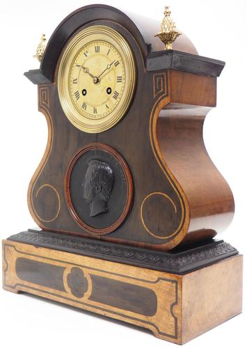 Antique French Empire 8-Day Striking Mantel Clock Walnut & Rosewood Case (1 of 5)