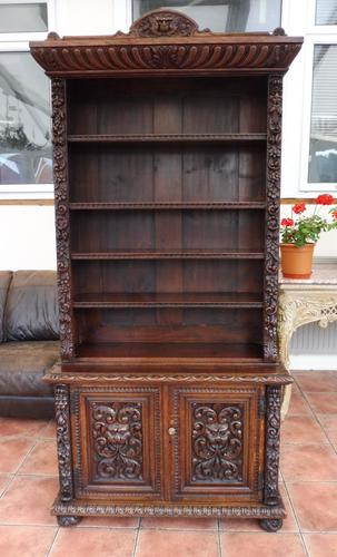 Country oak heavily carved bookcase splits into 2 1860 (1 of 1)