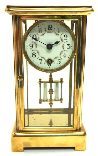 Fine Antique French Table Regulator with Visible Pendulum 8 Day 4 Glass Mantel Clock (1 of 10)