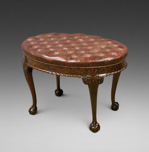 A Large Carved Mahogany Oval Stool (1 of 6)