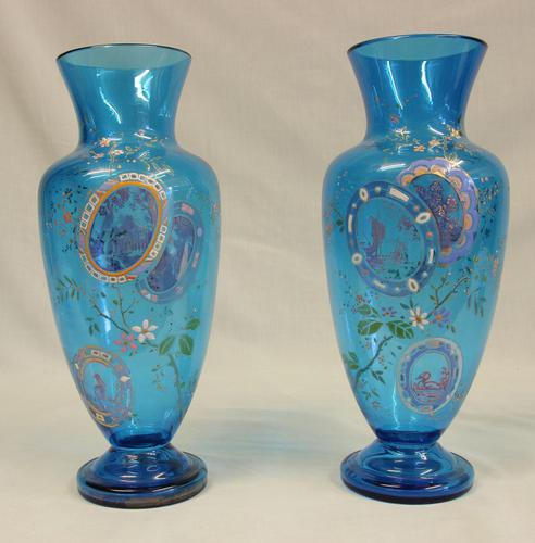 Pair of Antique Pale Blue Glass Decorated Vases (1 of 8)