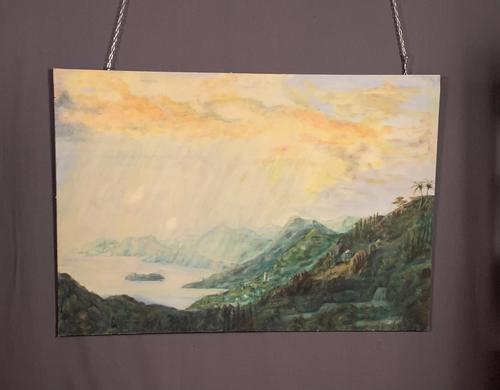 Large Mid century Oil on Canvas St Lucia (1 of 7)