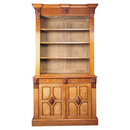 Antique Victorian Golden Oak Open Bookcase (1 of 20)