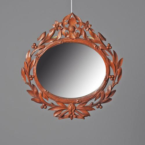Carved Black Forest Walnut Wall Mirror (1 of 7)
