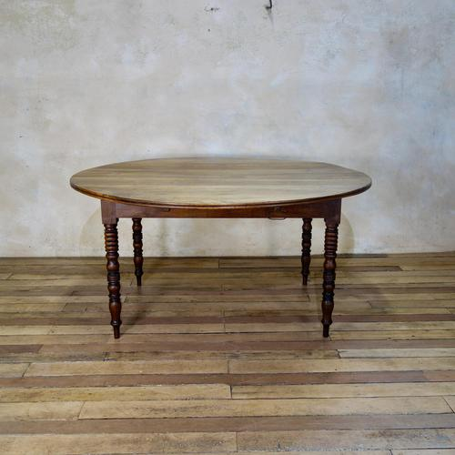 19th Century French Chestnut Circular Drop Leaf Table (1 of 10)