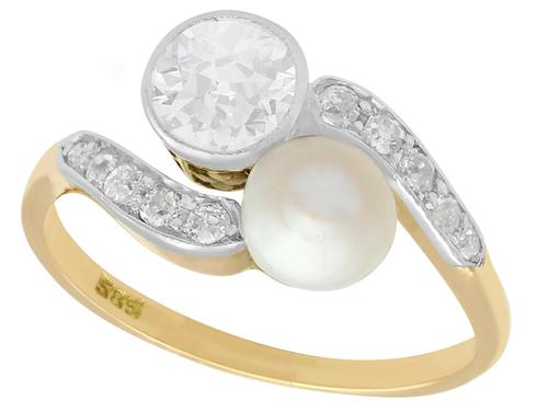 0.88ct Diamond & Natural Saltwater Pearl, 14ct Yellow Gold Twist Ring - Antique c.1900 (1 of 9)