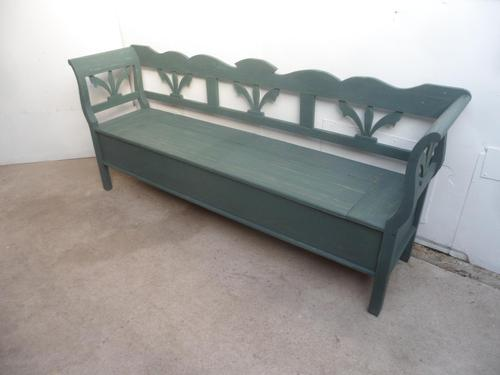 A Large 4 Seater Emerald Green Antique/Old Pine Kitchen/Hall Box Settle / Bench (1 of 10)