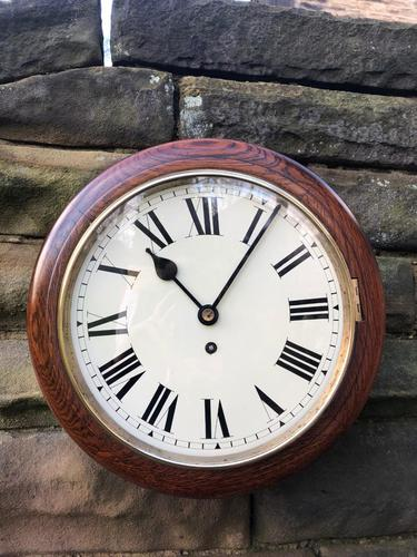 """Victorian Oak Cased 12"""" Dial Station Clock (1 of 8)"""