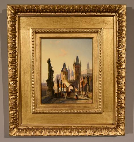 """Oil painting by William Dommersen """"The Charles Bridge, Prague"""" (1 of 4)"""