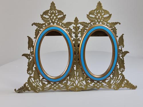 Stunning 19th Century 'Lovegrove & Flint' Double Brass & Turquoise Enamel Frame (1 of 8)