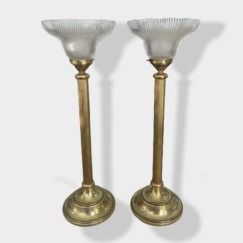 Pair of  Brass Column Holophane Uplighter Lamps (1 of 7)
