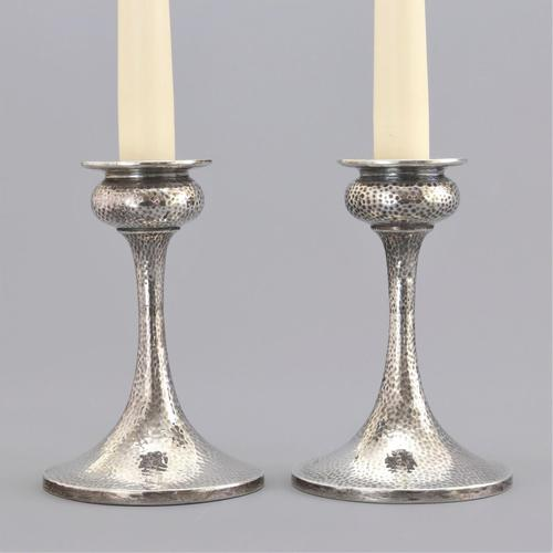 Pair of Arts & Crafts Silver Candlesticks by S Blanckensee & Son 1922 (1 of 10)