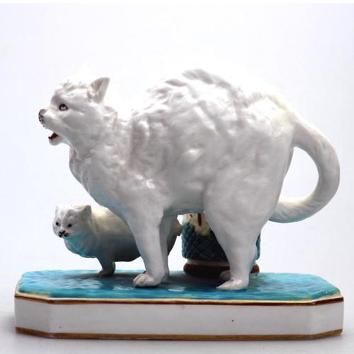 Highly Unusual Novelty Frightened Cat Porcelain Striker / Match Holder 19th Century (1 of 13)