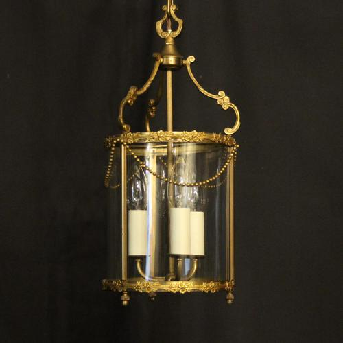 French Small Convex Gilded Triple Light Antique Lantern (1 of 10)