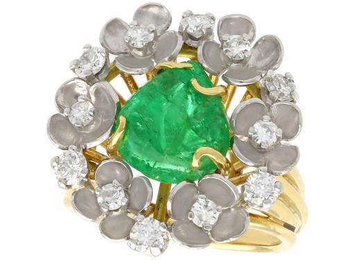 2.42ct Emerald & 0.95ct Diamond, 18ct Yellow Gold Dress Ring - Antique c.1920 (1 of 9)
