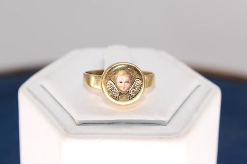 Georgian 18ct Gold & Diamond Poison Ring, size M, weighing 3.8g (1 of 6)