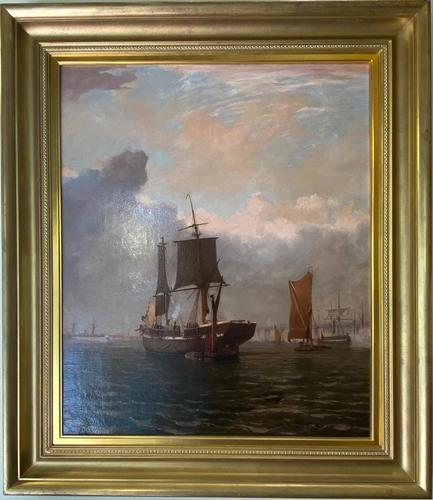 Oil on Canvas Entitled - A Busy Harbour by William R Wells (1 of 3)