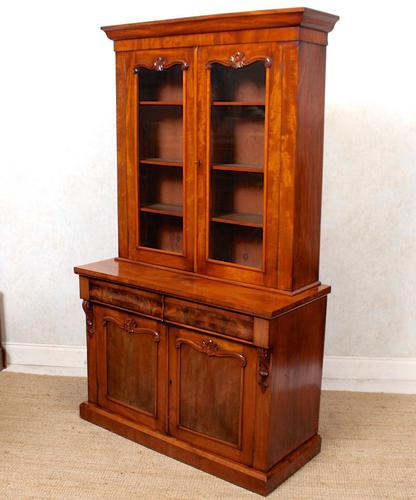 Library Glazed Bookcase Mahogany 19th Century Victorian Display Cabinet (1 of 11)