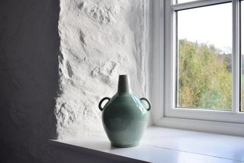 Mid 20th Century Large Light Green Glazed Twin Handled Bottle Vase (1 of 10)