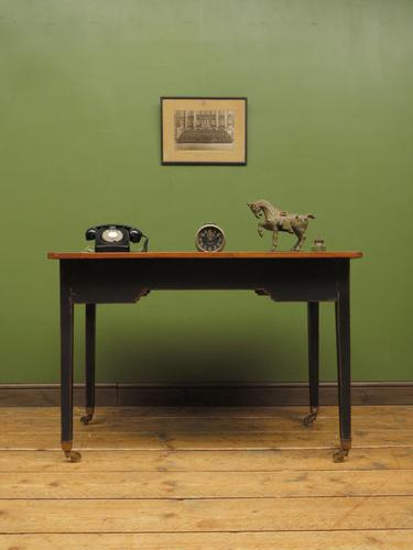 Antique Black Painted Writing Table with Wooden Top, Gothic Shabby Chic (1 of 19)