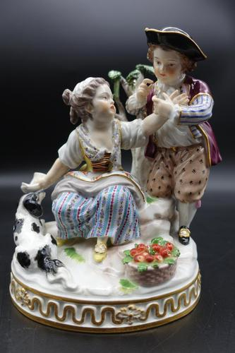 Fine Late 19th Century Meissen Model of Two Young Children & Dog (1 of 6)