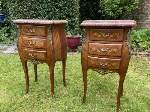 Pair of Marquetry Bedside Tables (1 of 8)