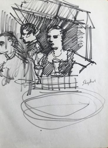 Original Marker Pen  Drawing 'Cafe Society, Perugia August 1956' by Toby Horne Shepherd - Signed (1 of 1)
