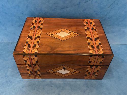 Victorian Walnut & Tunbridge Ware Jewellery Box (1 of 11)