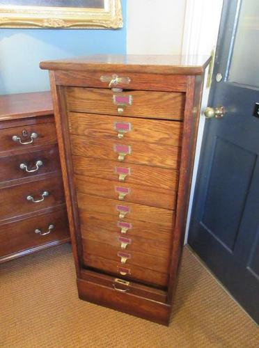 Edwardian Oak Tambour Front Filing Cabinet (1 of 8)
