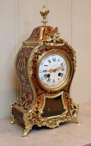 French Tortoiseshell & Brass inlay Mantel Clock (1 of 14)