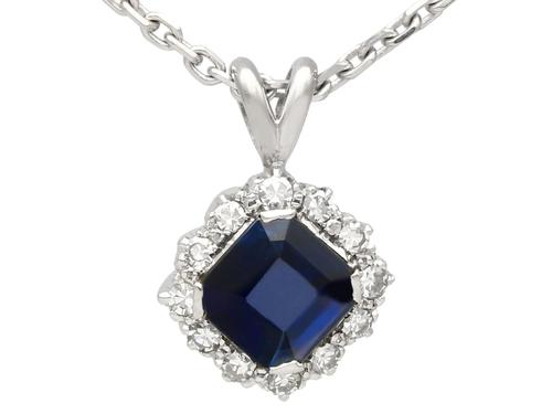 2.35ct Sapphire & 0.32ct Diamond, Platinum Cluster Pendant - Vintage c.1970 (1 of 9)